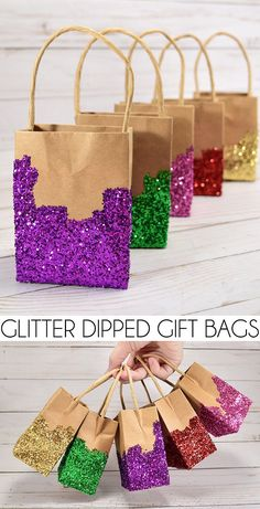 Dipped Gift Bags Make every gift special with these homemade glitter gift bags!Make every gift special with these homemade glitter gift bags! Homemade Party Favors, Diy Birthday Party Favors, Birthday Gift Bags, Party Gift Bags, Diy Birthday Decorations, Homemade Gifts, Birthday Diy, Diy Gifts, Glitter Party Decorations