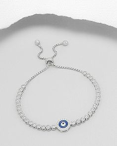 $44.00 Product Features: Bracelet  Product Type: Bracelet Product Design: Evil Eye Metal: 925 Sterling Silver Decorated With: Colored Enamel, CZ Setting Type: Bezel & Pave Set Plating: Rhodium Hallmark: 925  Width: 9 mm.