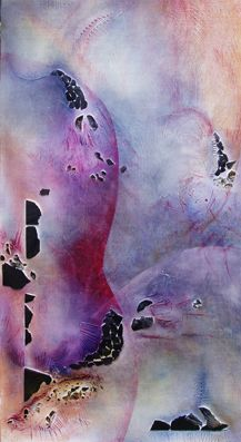 #hommage a #tanguely, #Messel, #Fossilien, #Aquarell auf #Holz mit #Materialcollage, 75 x 110 cm, #violett