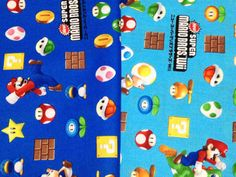 SUPER Mario fabric Blue and light blue color by HanamiBoutique, $23.00