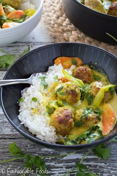Yellow Curry Meatball Bowls
