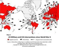 Map of US Military and CIA Interventions since World War created by Richard D. Vogel based on data from Killing Hope. Ronald Reagan, Military Intervention, Out Of Touch, Us Government, Us Military, Military History, Us Map, Us History, Amnesty International