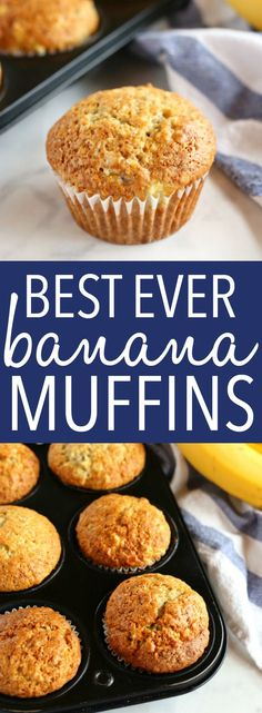 These Best Ever Banana Muffins are the best banana muffins you'll ever try - crispy on the outside and fluffy on the inside! And so easy to make in only one bowl! Ready in minutes! Recipe from thebusybaker.ca! #besteverbananamuffins #bestbananamuffins #bananamuffins #easymuffinrecipe via @busybakerblog
