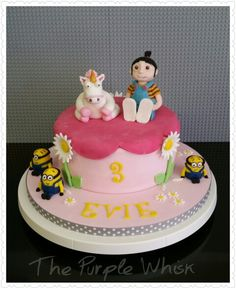 Www.thepurplewhisk.co.uk  Despicable me minions and unicorn cake.