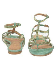 Envy Citroen Teal Mint Suede Studded Gladiator Sandals