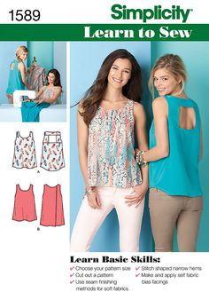 Simplicity 1589 Misses' Learn to Sew Tops Sewing Pattern