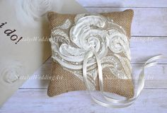 Lace Rustic Wedding pillow Burlap Ring Bearer cushion by NatalysWeddingArt