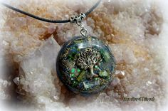 Orgonite Pendant Necklace Tree of Life Green by InnerMind on Etsy