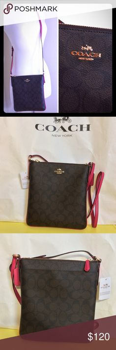 """New Coach Signature Crossbody Bag 100% Authentic. Brand new with tag. No dust bag. Brown, Pink Ruby. Adjustable strap. Top zipper closure. Has outside snap closure pocket. 1 interior pocket with no zipper. Measurements: 8"""" x 1"""" x 8.5"""" Coach Bags Crossbody Bags"""