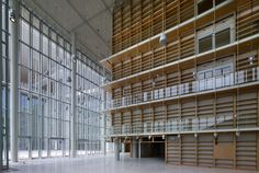 The book castle. The lobby of the NLG. Stavros Niarchos Foundation Cultural Center by Renzo Piano. Photograph © Yiorgis Yerolymbos, courtesy of Renzo Piano and Stavros Niarchos Foundation.