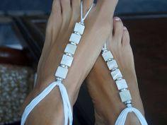 Beach Wedding Barefoot Sandals White Shell Barefoot Sandals