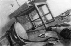 """Clara Lieu, Student Artwork, RISD Illustration Department, Sophomore Drawing I: Visualizing Space, Your Living Space assignment, 24"""" x 36"""" , charcoal"""