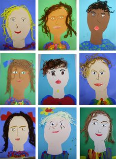 Kinder self-portraits...I've tried many different lessons to get little five and six year old kids to create a self-portrait, and this one is my favorite. Step One: I start with an oval template and instruct the children to trace onto skin tone colored construction paper. Then, we trace the neck template and glue both onto a piece of 12″ x 18″ sheet of colored paper....