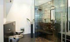 Craftsman Bathroom in San Diego with Stainless Steel Neo-Metro Toilets