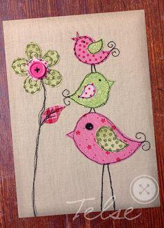 """Postcard """"high up"""" by Telse Ahrweiler Kunst + Design - Telse-Karten - Lila craft web Embroidery Cards, Free Motion Embroidery, Free Motion Quilting, Embroidery Applique, Embroidery Patterns, Quilt Patterns, Embroidery Jewelry, Freehand Machine Embroidery, Machine Embroidery Projects"""