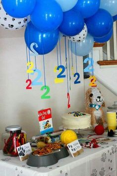 Paw patrol Party Ideas: *I like the hanging Puppy Birthday Parties, Puppy Party, Birthday Bash, Birthday Party Themes, Birthday Kitten, Abc Party, Paw Patrol Birthday Decorations, Paw Patrol Birthday Cake, Second Birthday Ideas