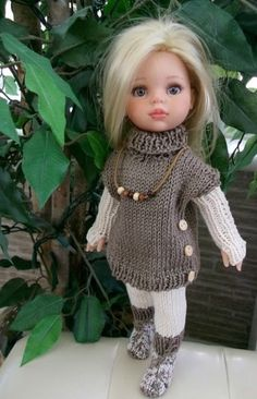 Discussion on LiveInternet - Russian Online Diary Service Knitting Dolls Clothes, Ag Doll Clothes, Crochet Doll Clothes, Clothes Crafts, Knitted Dolls, Doll Clothes Patterns, Doll Fancy Dress, Crochet Doll Dress, American Girl Clothes