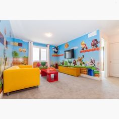 How cute is this Mario themed game room?!! Tag friends that would love to have a space like this! Credit to Phoenix Homes... - Home Decor For Kids And Interior Design Ideas for Children, Toddler Room Ideas For Boys And Girls