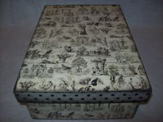 Toile Wooden Memory Keepsake Box by EspeciallyMade on Etsy, $25.00