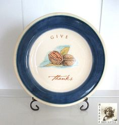 Vintage Plate Dark Blue & Cream Plate Hand by MirandaMercantile