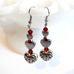 Handmade Antiqued Silver Triple Heart Earrings with Ruby Red Swarovski Crystals, Valentines Day Jewelry, Gifts for Her, Dangle Hearts