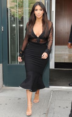 Hot mama! Kim Kardashian shows some skin in NYC.