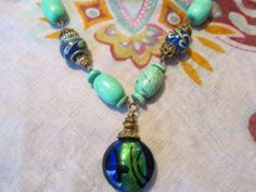 18 Lampwork and turquoise necklace by StoneworksByJan on Etsy, $25.00
