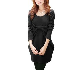 Allegra K Ladies Long Sleeve Scoop Neck Bowknot Bust Front Pullover Shirt Top 3637 Black S Allegra K. $12.33