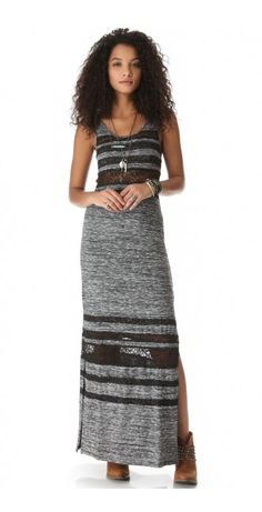 HAZY DAZE MAXI DRESS $126.54 SPECIAL $35.40 YOU SAVE: 72% Sheer lace trim and space-dye knit create rich texture on a Free People maxi dress. Side openings complete the graceful silhouette. Unlined.