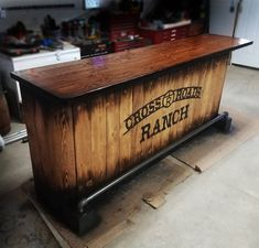Custom home bar hand built rustic whiskey pub man cave Man Cave Barn, Man Cave Home Bar, Diy Home Bar, Bars For Home, Custom Home Bars, Custom Homes, Man Cave Vanity, Whiskey Barrel Sink, Portable Bar