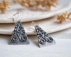 Silver earrings  Boho earrings geometric jewelry ethnique