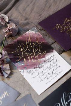 wedding invitations Custom Hand-Painted Wedding Invitation Suite with Hand-Lettered Calligraphy // Eggplant // Plum // M Wedding Cards, Diy Wedding, Wedding Day, Wedding Events, Wedding Quotes, Wedding Programs, Wedding Tips, Spring Wedding, Elegant Wedding