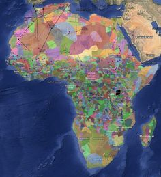 Harvard University map of ethnicity in Africa, based on data from a 2001 book edited by anthropologist Marc Leo Felix. You can play around with Harvard's interactive map, overlaying other variables and studies by clicking through on the link