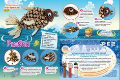 """Поделки с детьми. Журнал """"Коллекция идей"""": Рыбка из природных материалов. Поделки своими руками."""