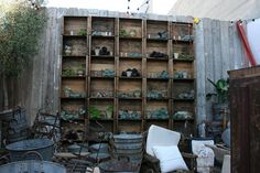 """Stack crates to make an outdoor display """"case"""" for plants, votives and other appropriate accessories. Would love to do this in the yard! Old Crates, Wooden Crates, Vignette Design, Garden Nook, Potting Sheds, Decks And Porches, Outdoor Living, Outdoor Decor, Garden Projects"""