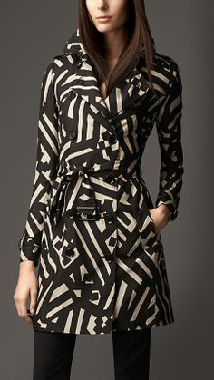 Burberry London Mid-Length Geometric Print Silk Trench Coat
