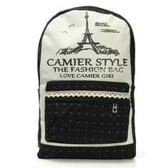 Sale 14% (17.15$) -  Lace Tower Women Canvas Backpack Girls Dot Leisure School Bags Rucksack