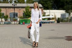 #StreetStyle Spotlight: White Haute // distressed jeans + lace blouse