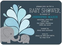 Baby Shower Invitations Elephant Applique - Front : Slate