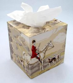 The Fox Hunt Equestrian 1950's Vintage Wallpaper Tissue by Fondue, $35.00
