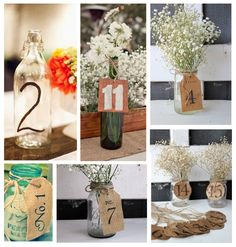 Recicla #tarros de #cristal para poner los números de mesa #weddingideas #diy #bodas