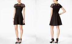 Jessica Simpson Lace Scuba Fit & Flare Dress