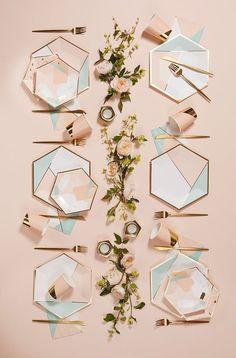 Gold Foil Paper, Plate Design, Design Design, Party Plates, Light Peach, Desert Rose, Home And Deco, Decoration Table, Cocktail Napkins