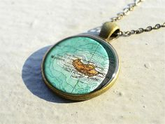 Vintage Madeira island map necklace pendant