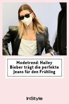 Hailey Bieber trägt den perfekten Jeans-Trend für den Frühling. Wie du ihn genauso cool kombinierst, zeigen wir dir hier. #instyle #instylegermany #jeans #denim #haileybieber #frühling #modetrend