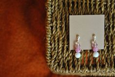 Handmade earrings white and light pink by ATouchOfJewels on Etsy, $17.00