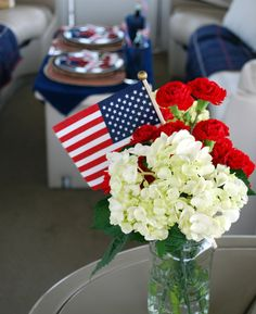 4th of July Red + White Flower Arrangement