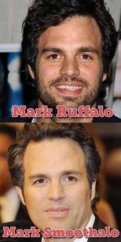 """""""Mark Ruffalo and Mark Smoothalo"""" -- I love people puns! Celebrity Name Puns, Celebrity Pictures, Mark Ruffalo, Bruce Banner, It Goes On, I Love To Laugh, Celebs, Celebrities, Funny Memes"""