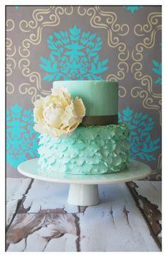 Ruffle cake w/ large gum paste peony accent