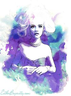 """Amethyst Blue Hues 8.5"""" x 11"""" Watercolor Fashion Illustration by Esther Bayer $32.50"""